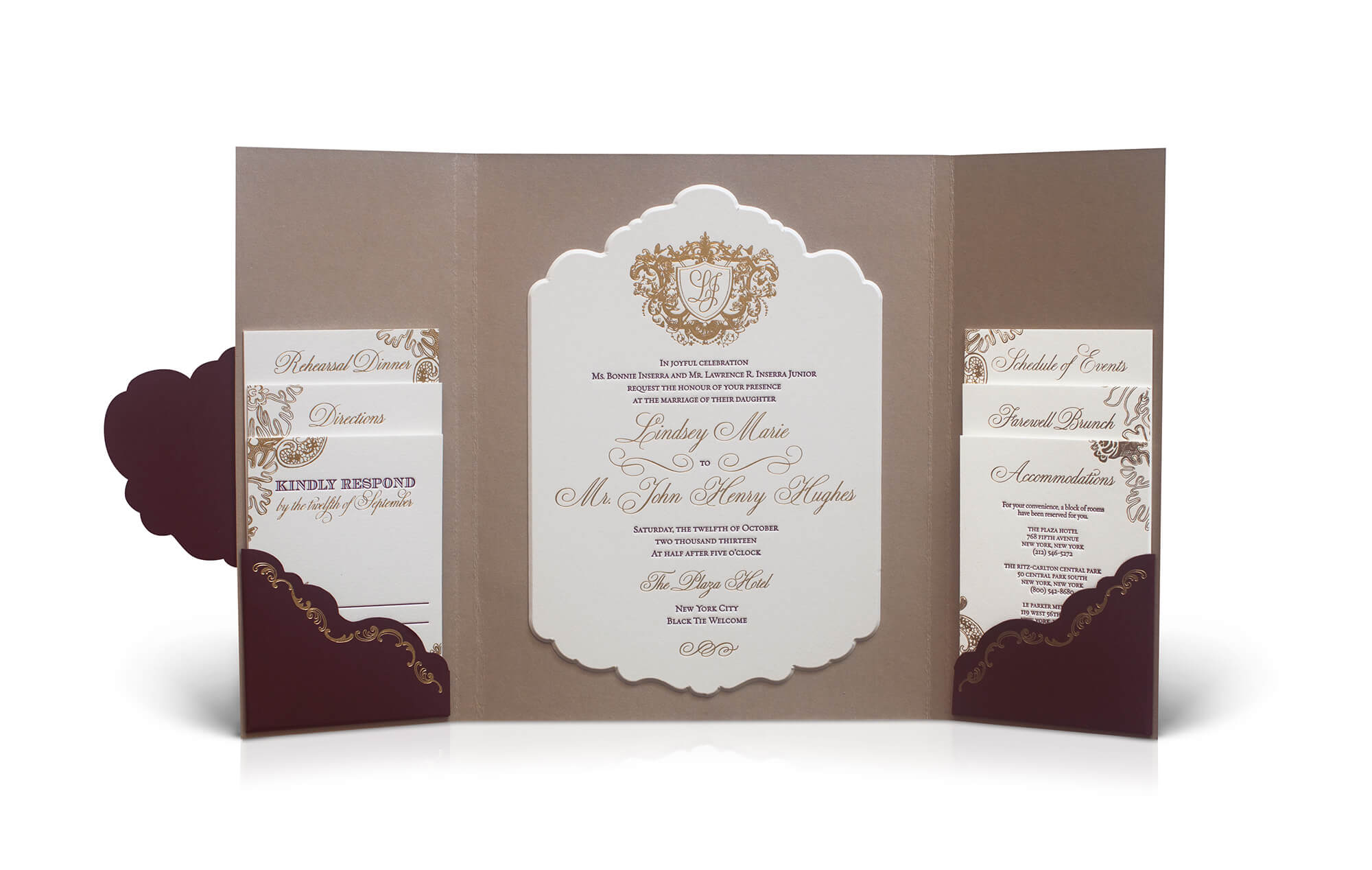Plaza Hotel wedding invitation with folder and scalloped edges