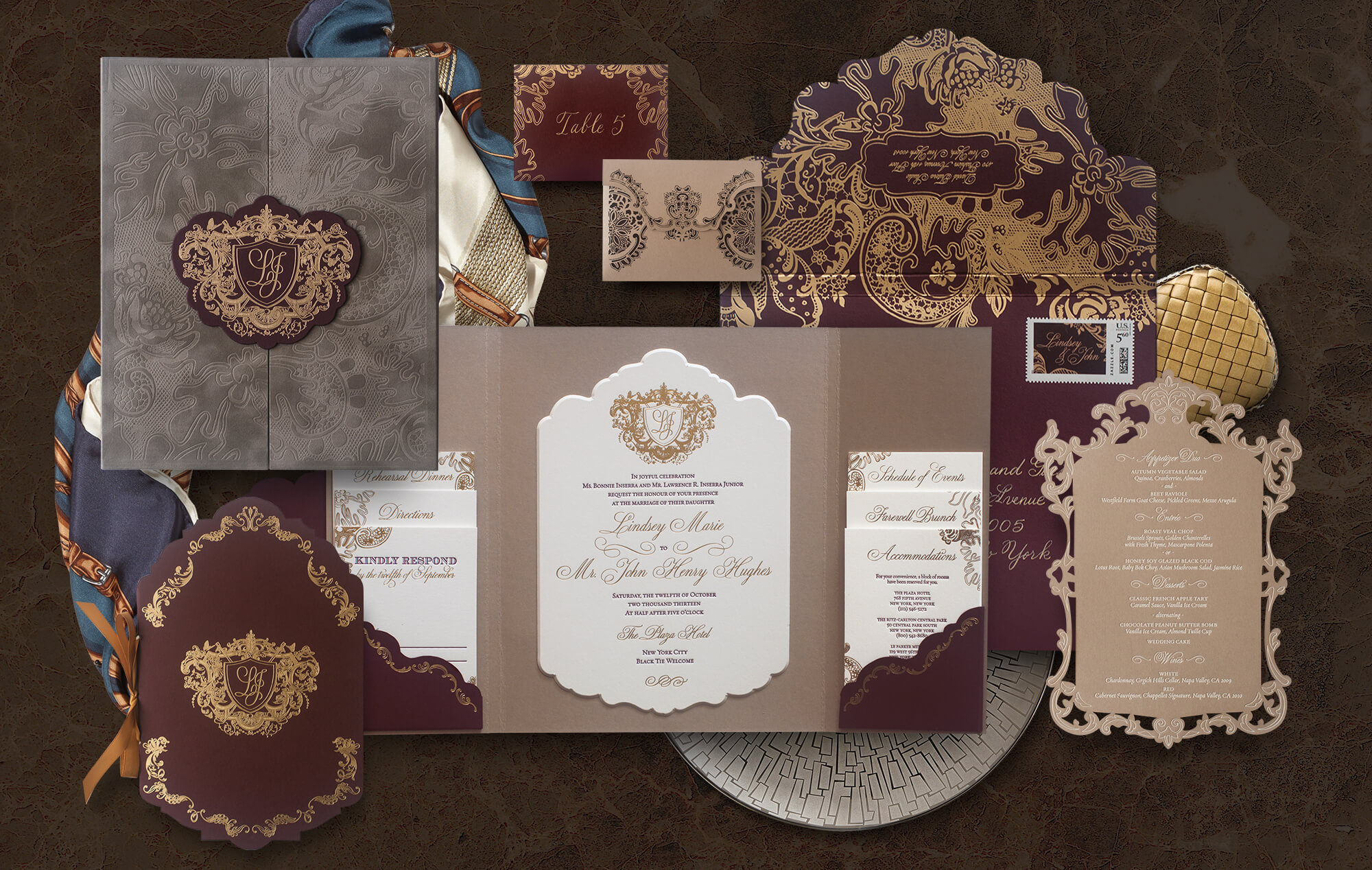 Ornate wedding invitation suite inspired by the Plaza Hotel
