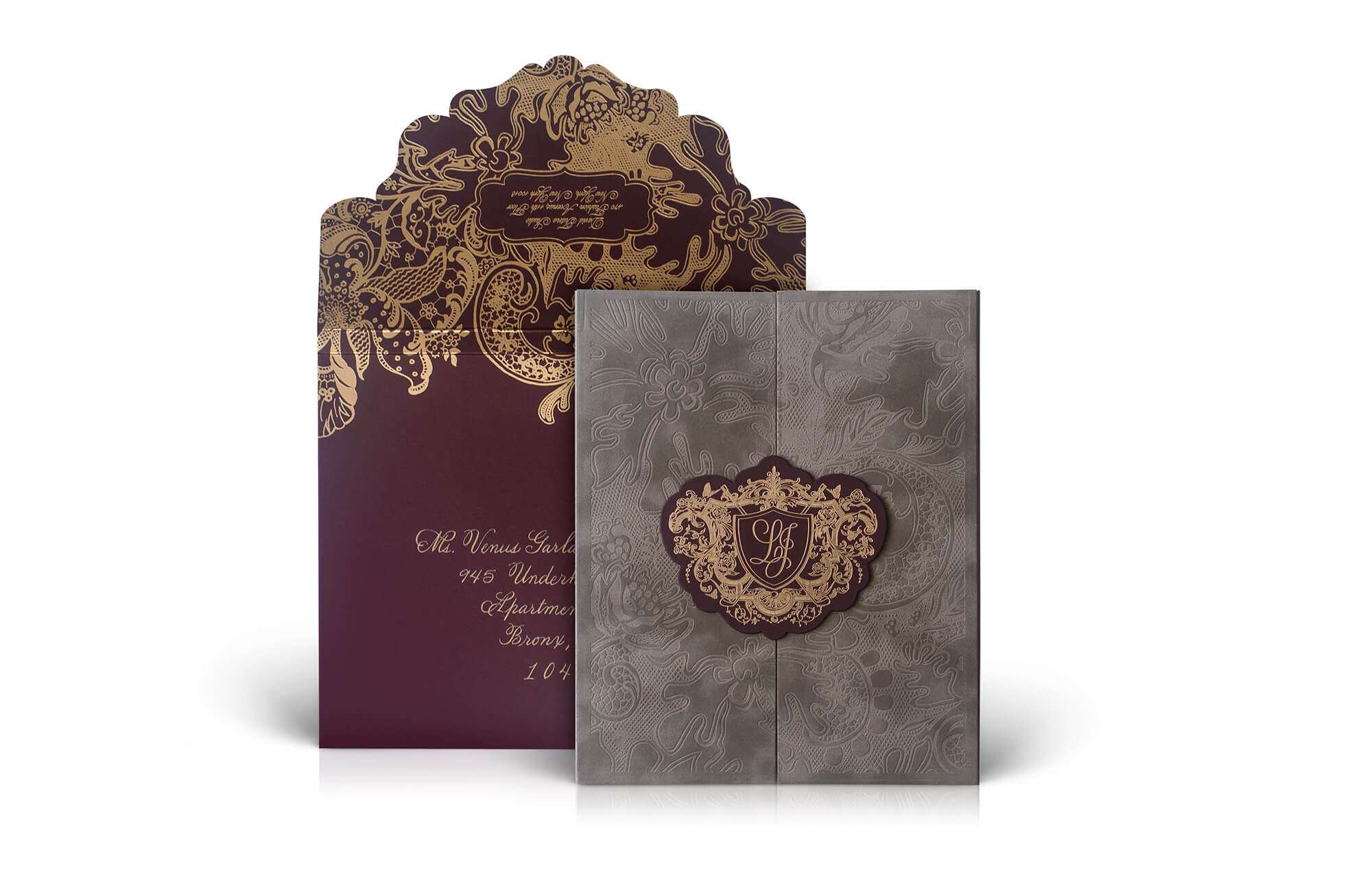 Taupe velvet, burgundy and gold wedding invitation