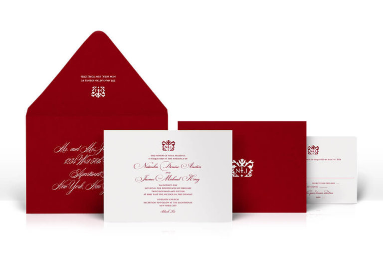 Red and ivory classic wedding invitation