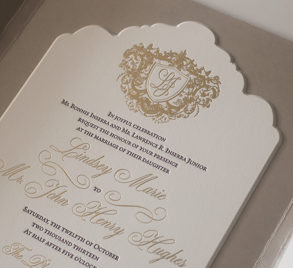 Scalloped edge wedding invitation