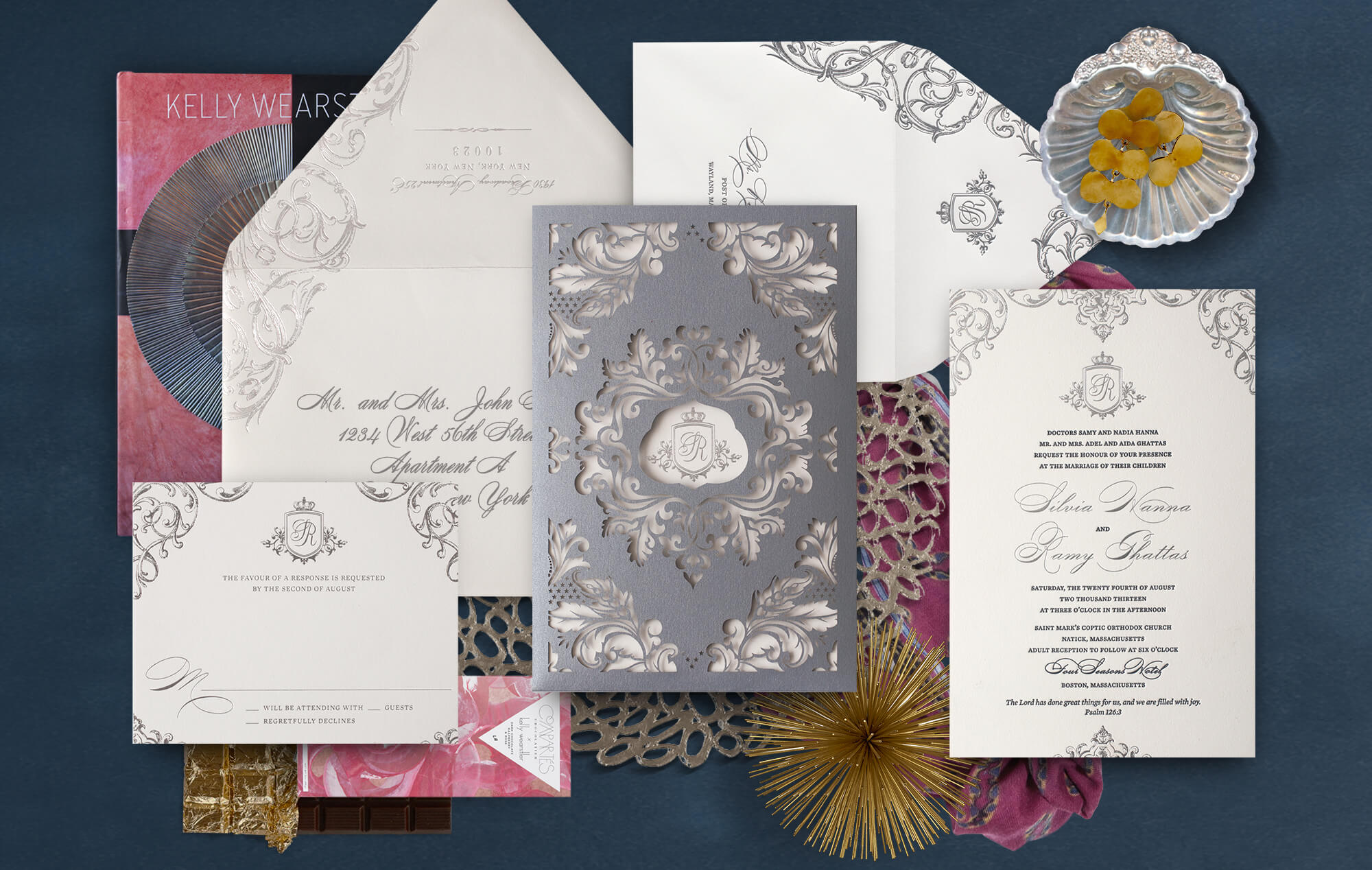 Silver ornate laser cut wedding invitation