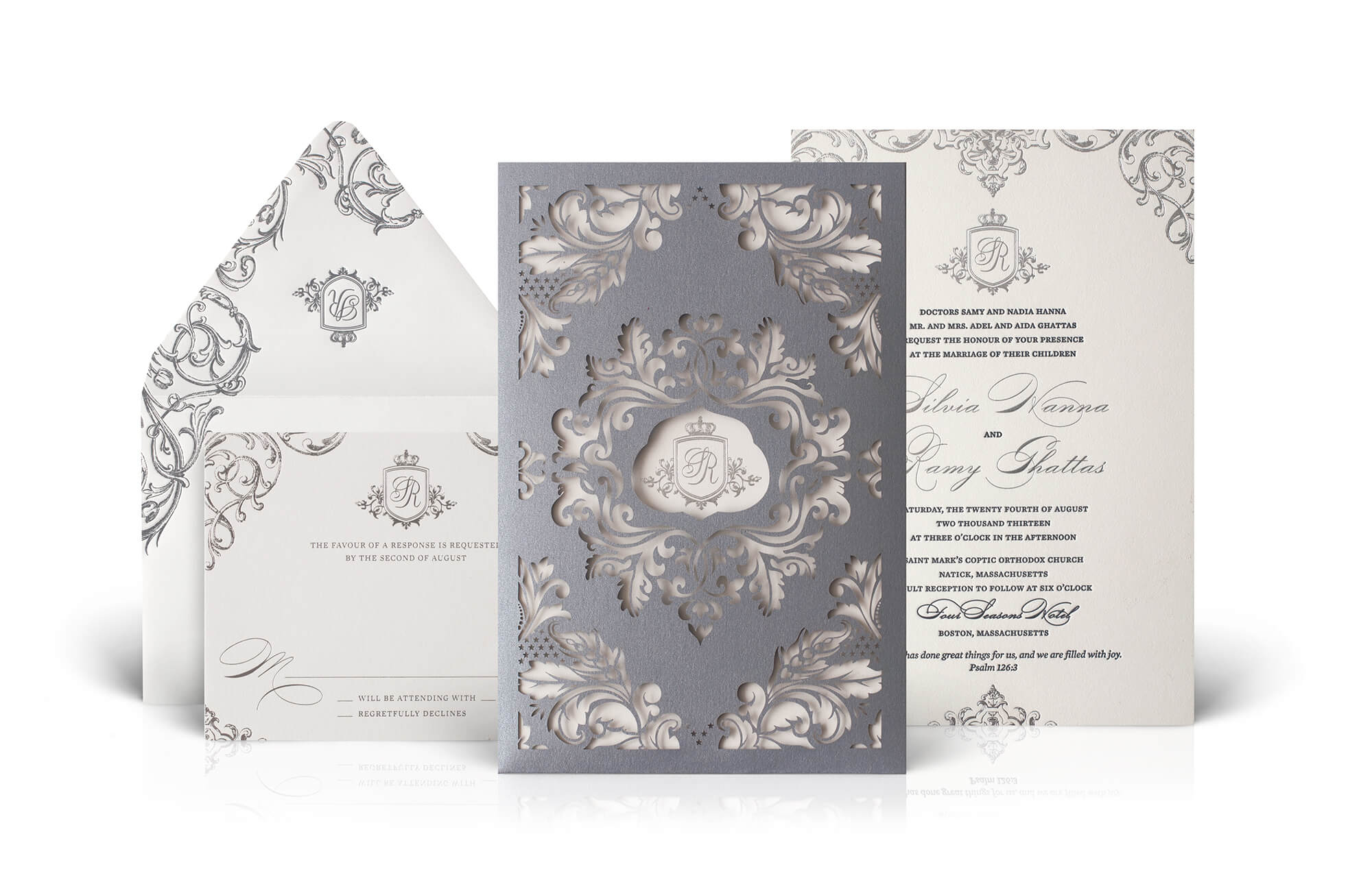 Silver regal laser cut wedding invitation
