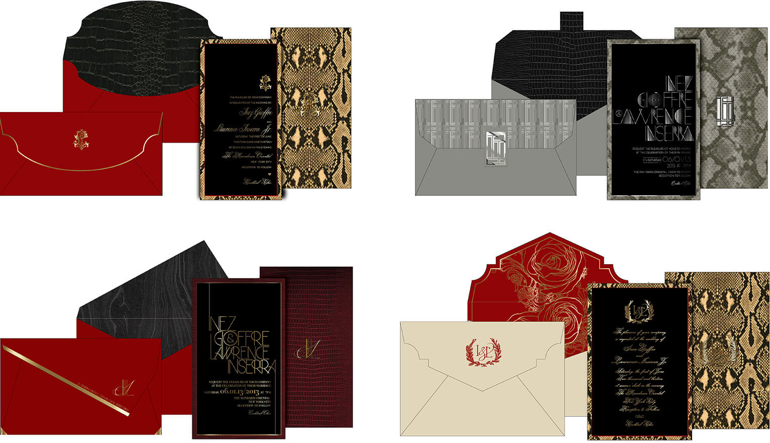 Alternate designs with python and reptile embossed papers