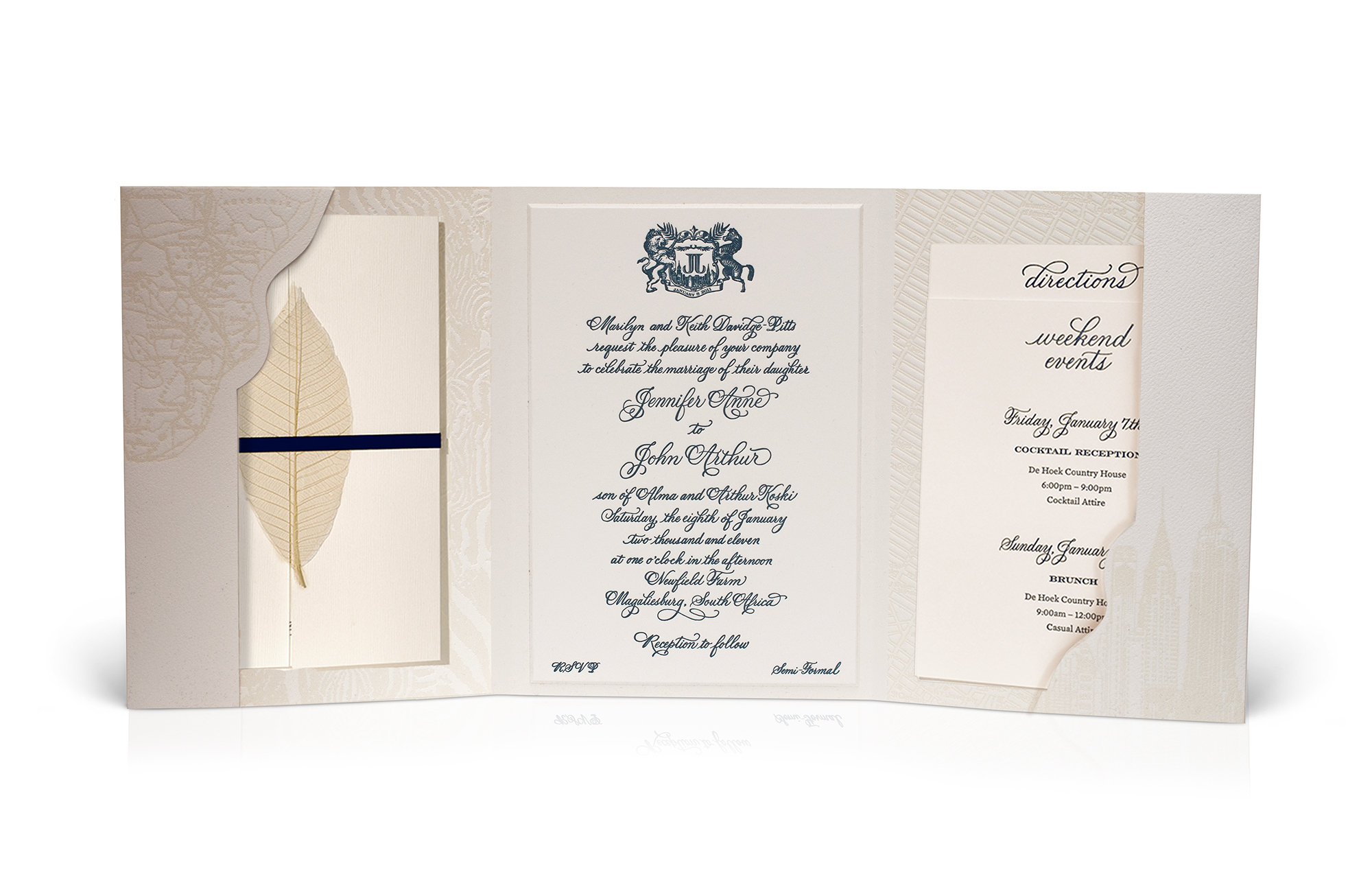 South African classic destination wedding invitation