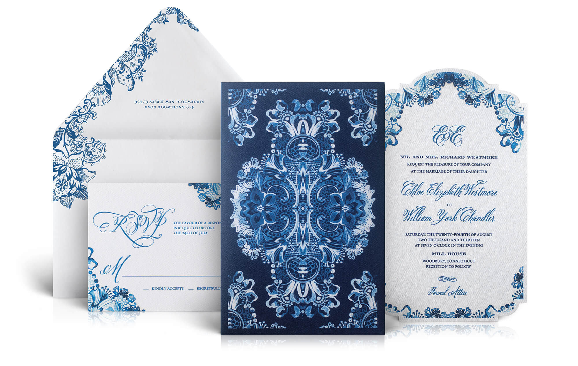Watercolor floral and lace wedding invitation