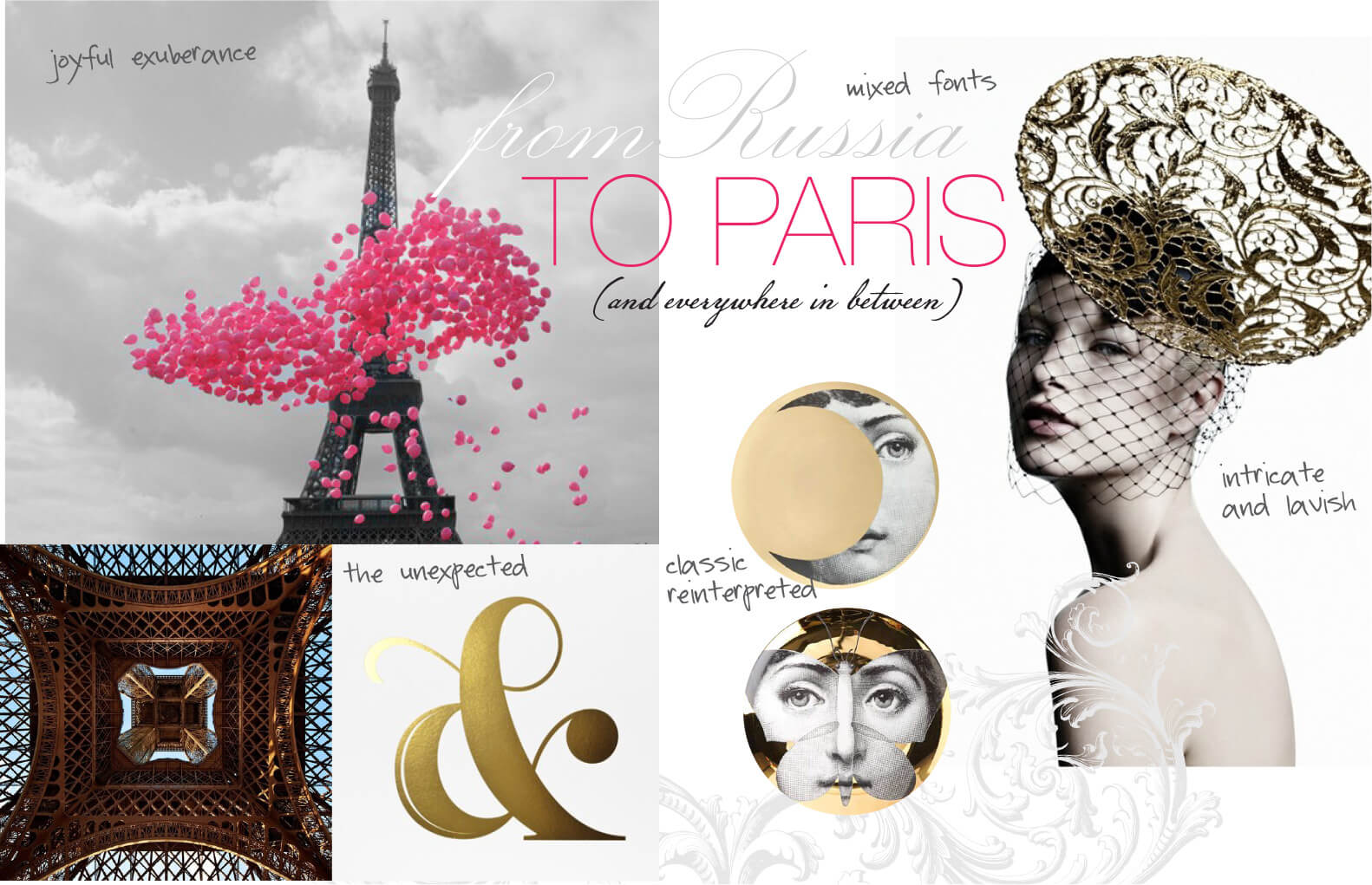 Pink and gold whimsical Paris imagery