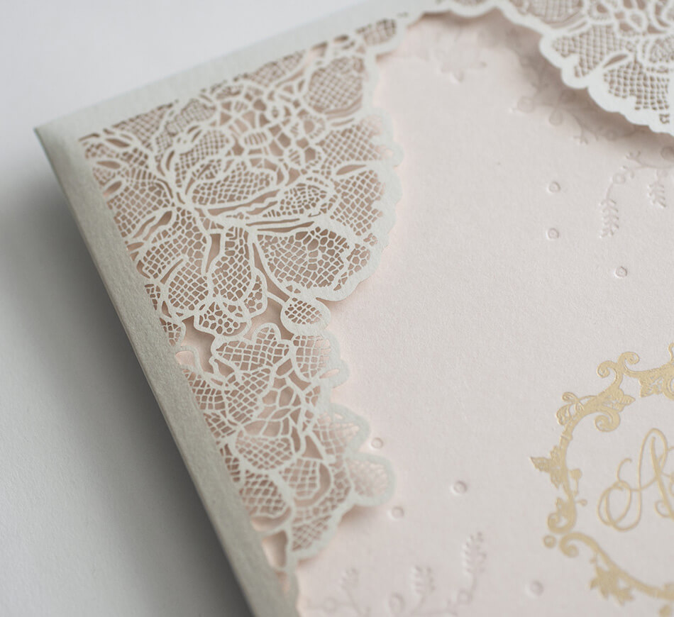 Laser cut sleeve lace detail