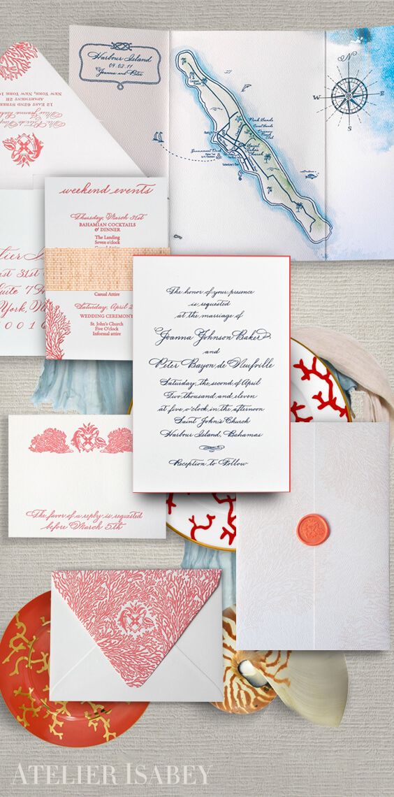 Watercolor Bahamas destination wedding invitation