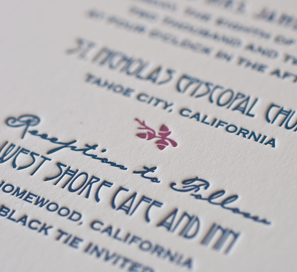 Blue and red letterpress typography