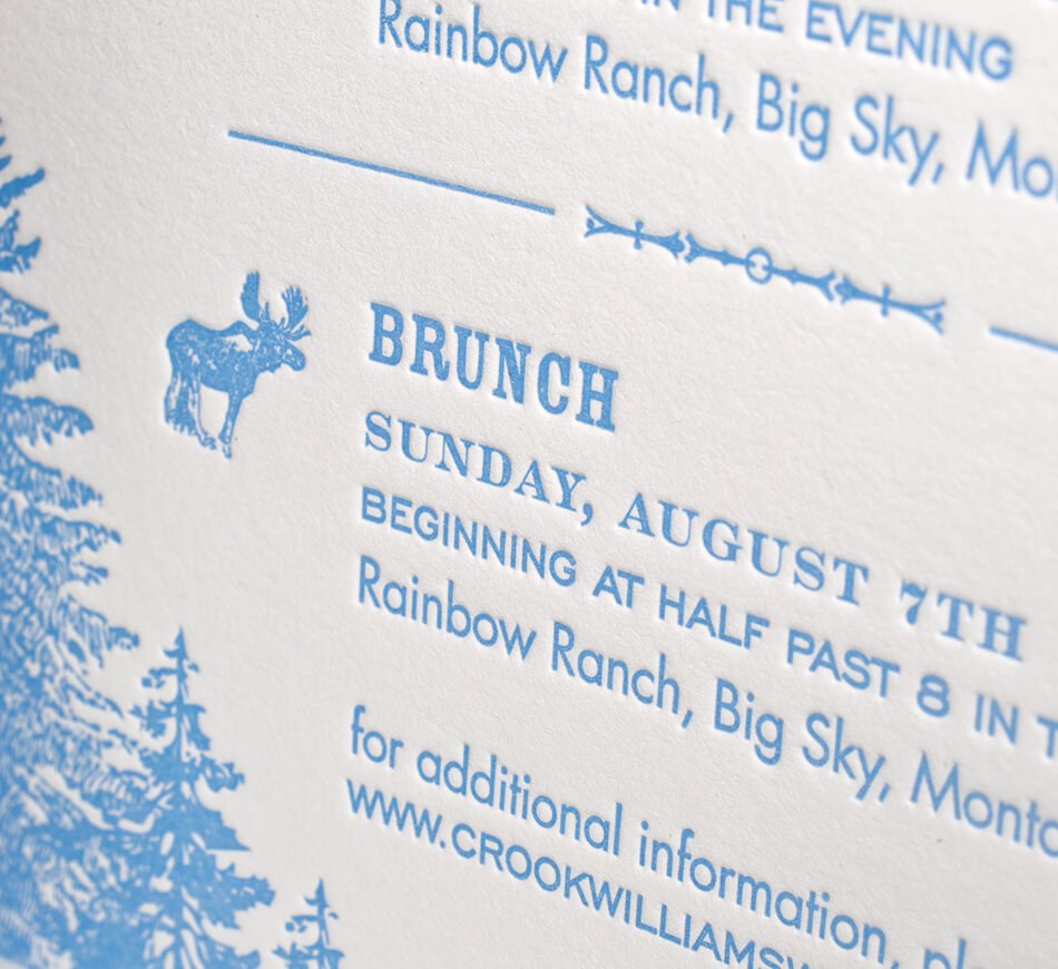 Blue letterpress detail