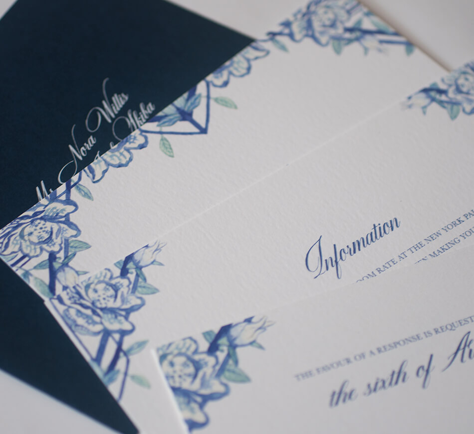 Watercolor and letterpress enclosure cards