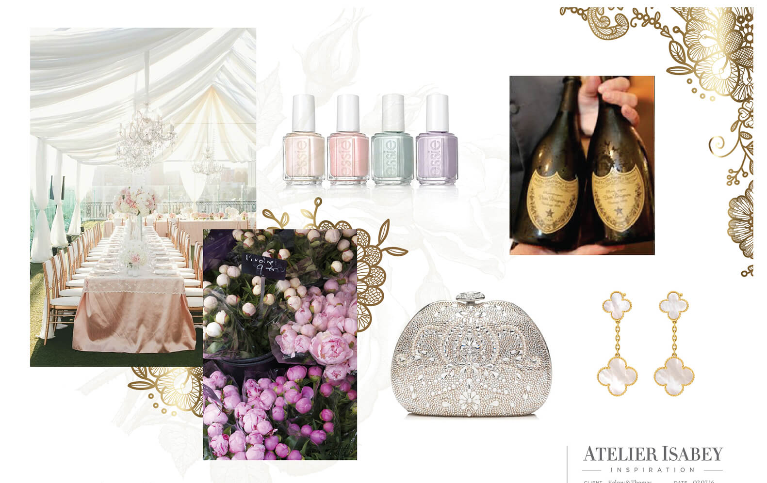 Peonies, jeweled clutch, champagne and other inspiration