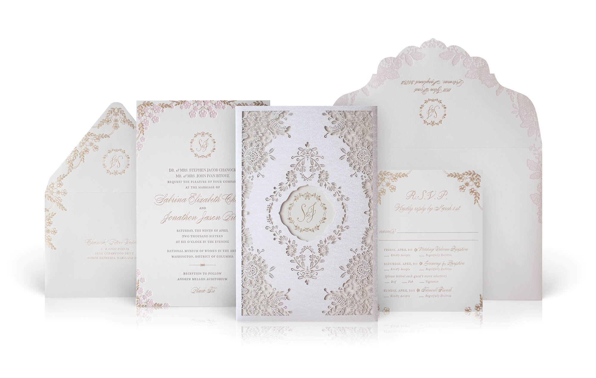 La Durée and cherry blossom invitation