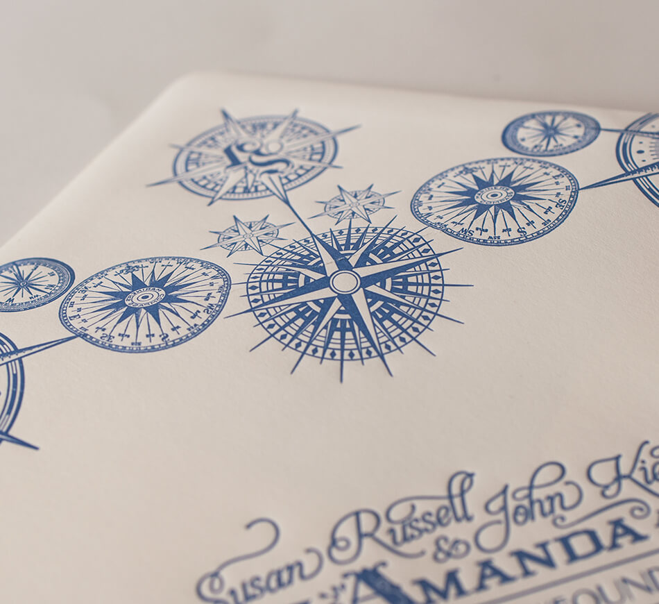 Reply envelope with compass designs