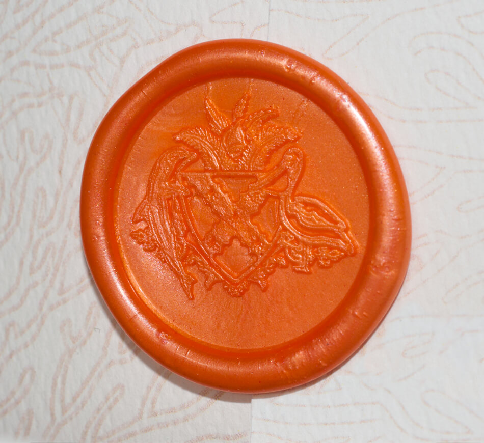Coral wax seal with custom crest