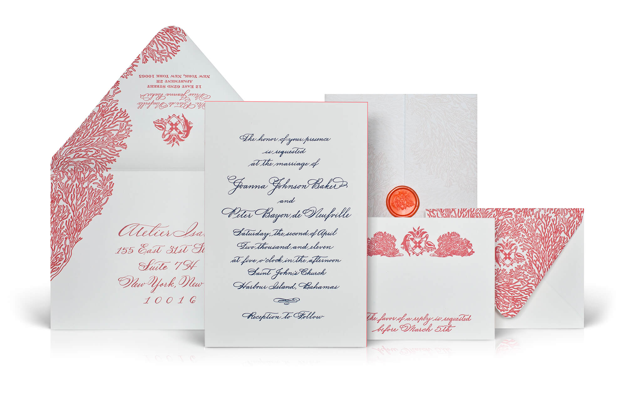 Engraved calligraphy, corals, watercolor on a Bahamas wedding invitation