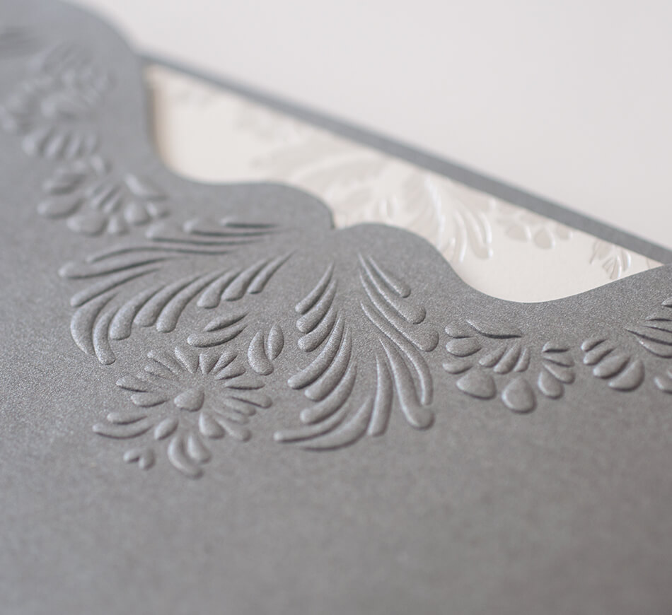 Embossing detail on sleeve