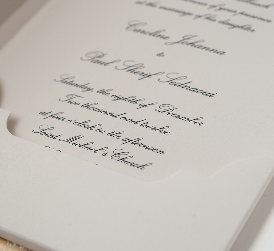 Engraved invitation and pocket