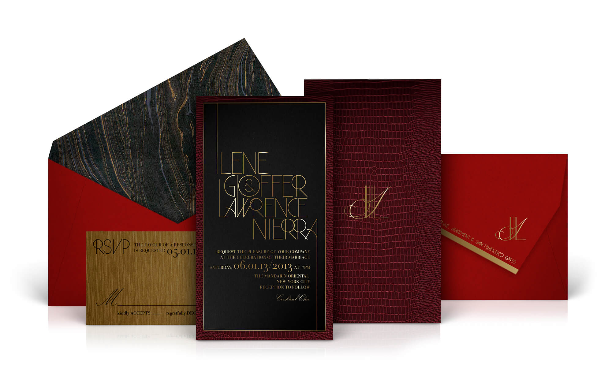 Fashion week wedding invitation in red, black and gold