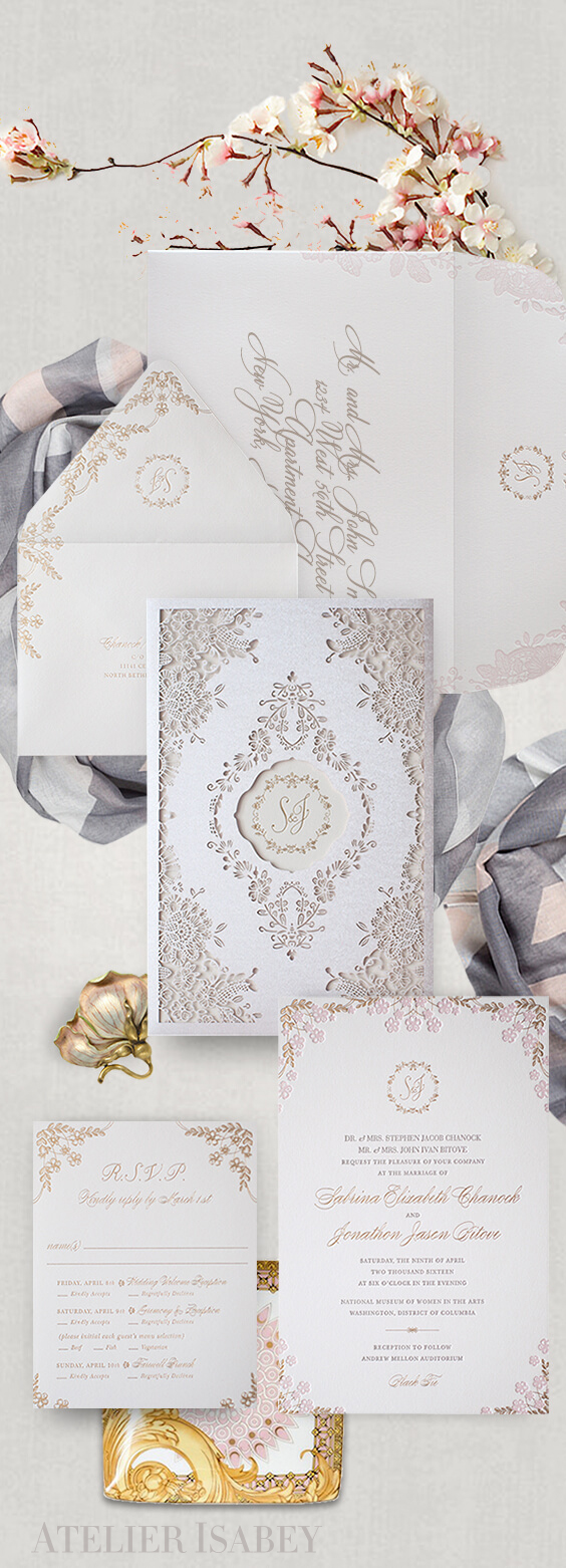 Cherry blossom wedding invitation with laser cut sleeve