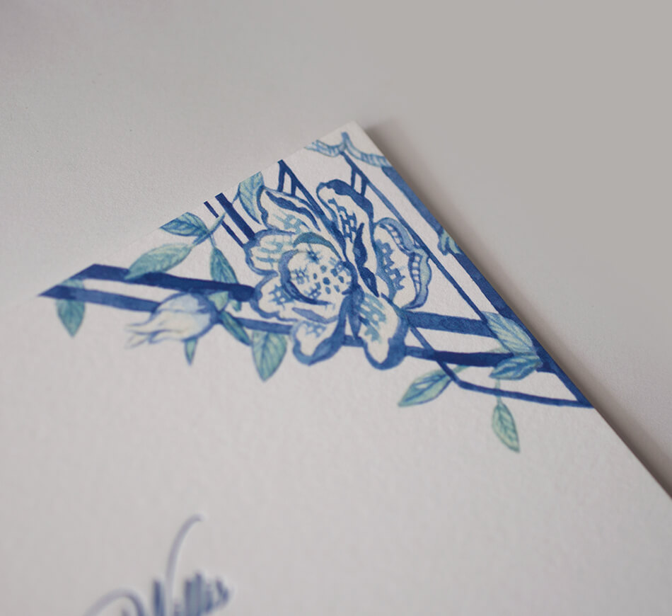 Geometric and floral watercolor illustration
