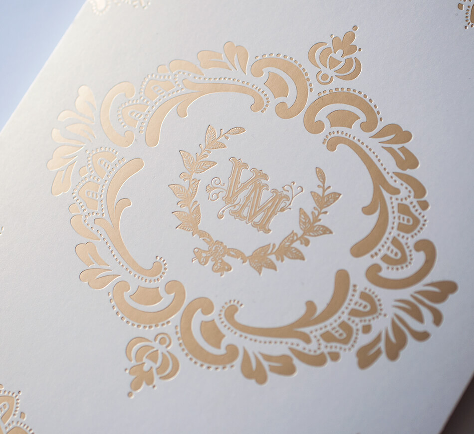 Gold on shimmer invitation backer