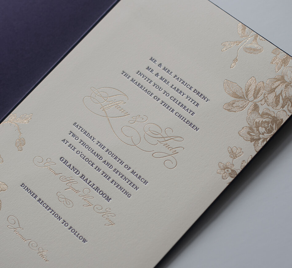 Gold foil and purple letterpress