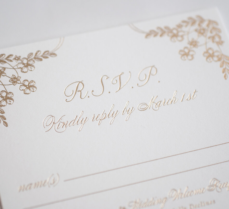 Gold floral reply card