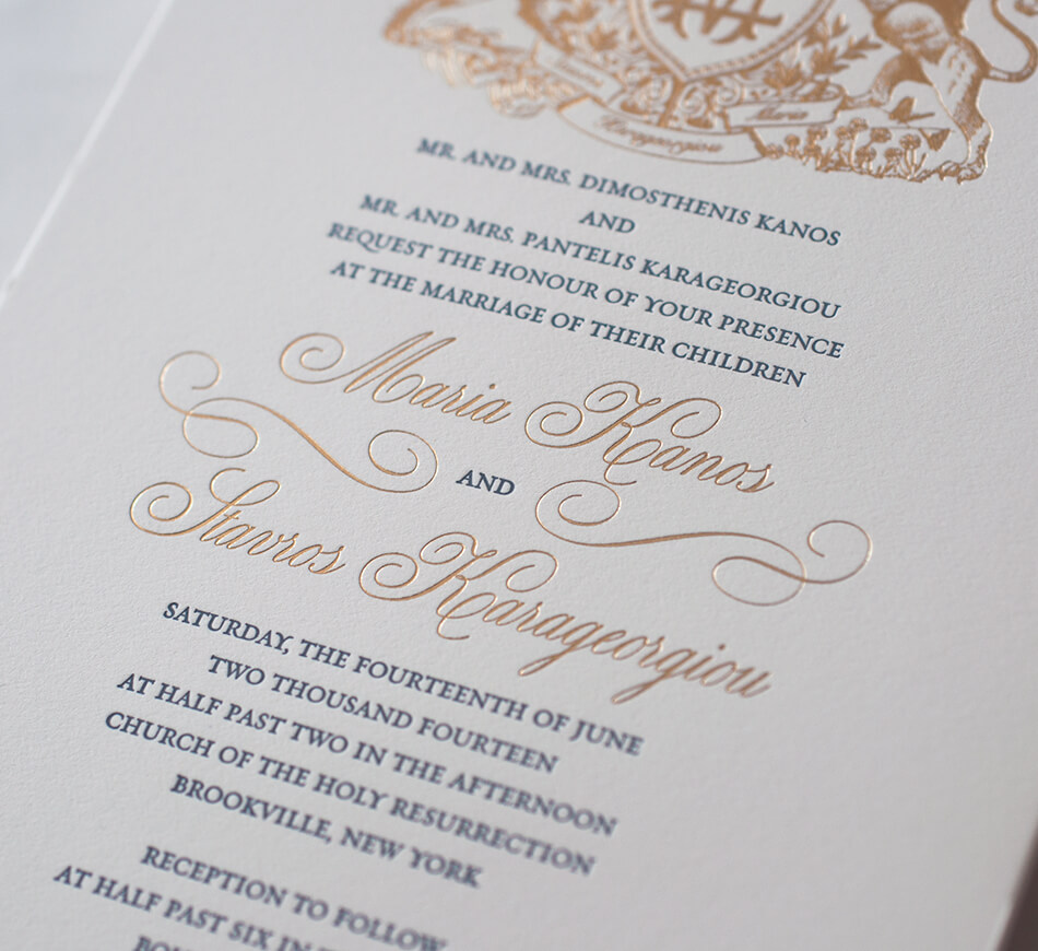 Gold lettering and letterpress typography