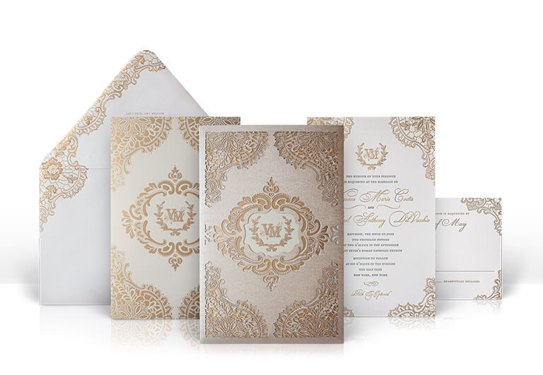 Gold foil and laser cut lace wedding invitation