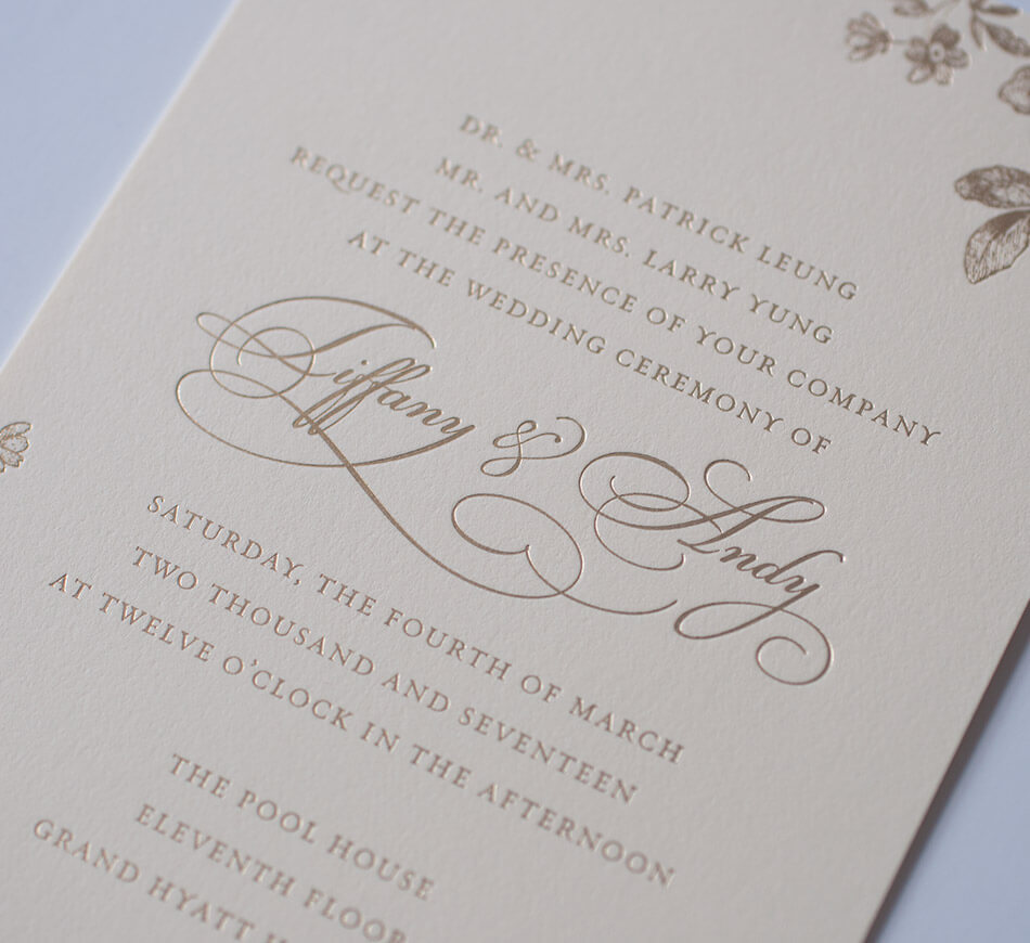 Gold foil calligraphy lettering