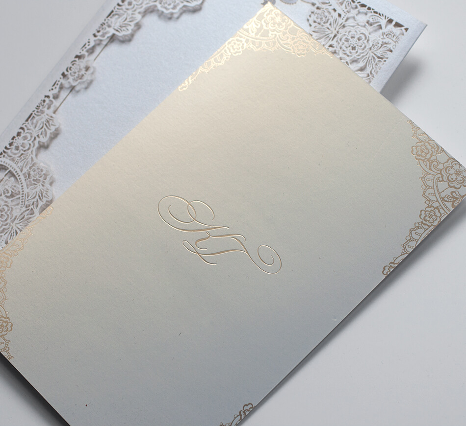 Gold printing on pearl shimmer paper
