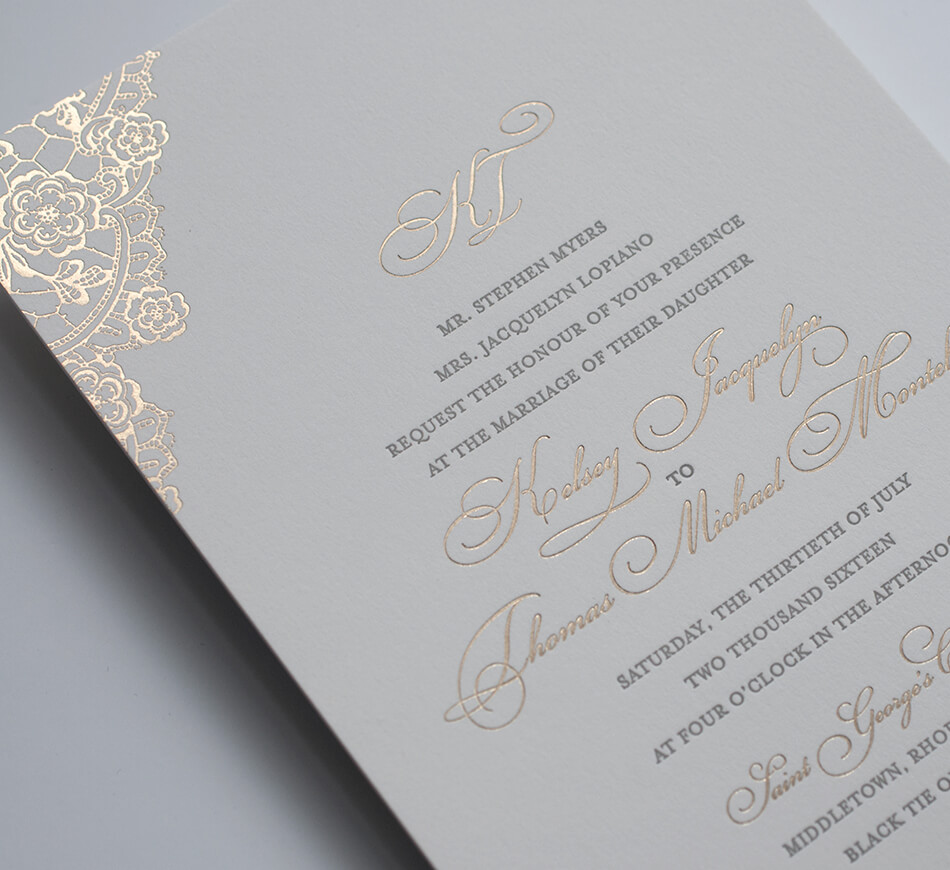 Gold typography and letterpress printing