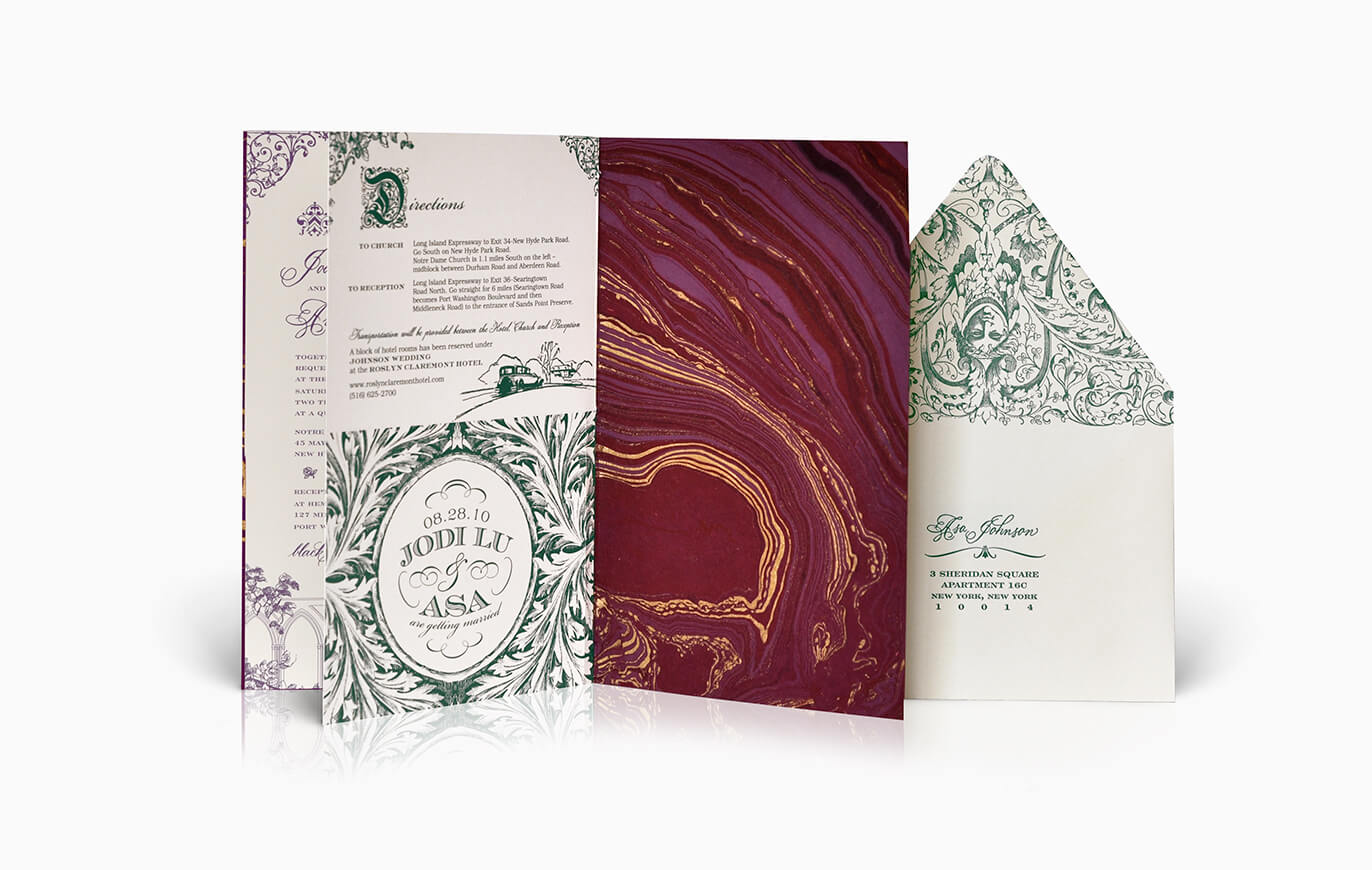 Marbled red paper for a booklet wedding invitation