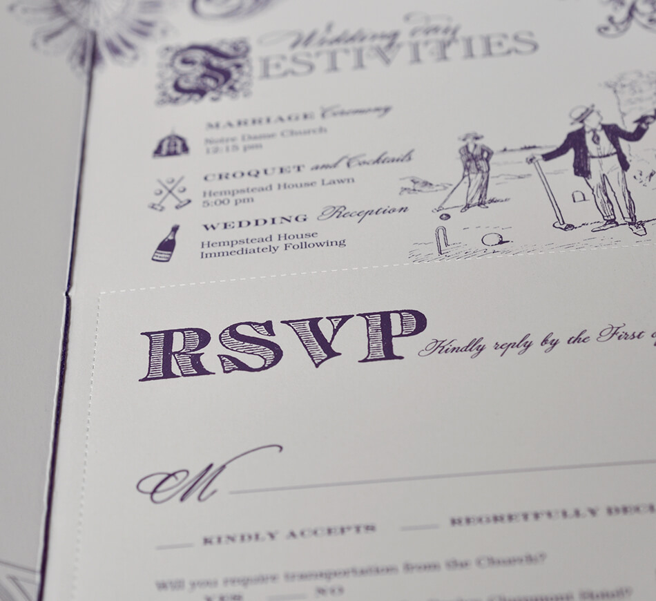 Invitation booklet perforated reply card