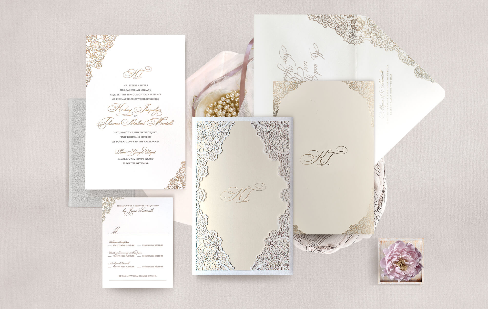 Ivory laser cut lace wedding invitation