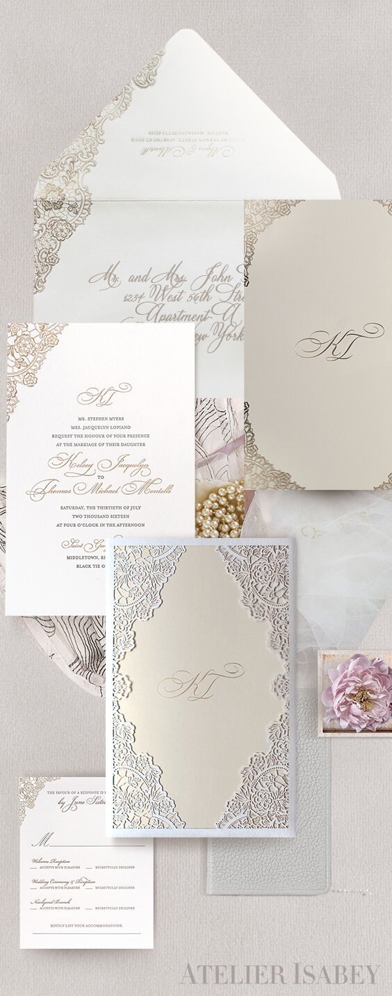 Ivory lace laser cut wedding invitation