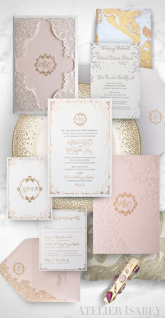 Lace Laser Cut Wedding Invitation