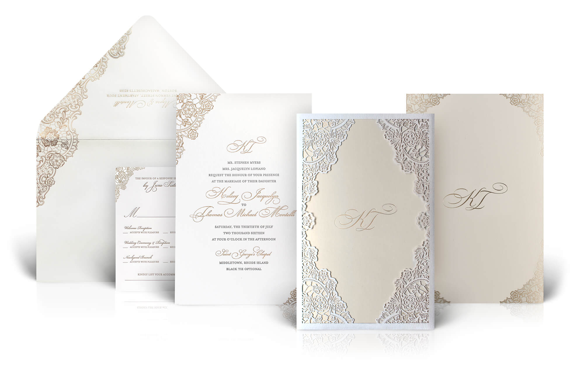 Ivory and gold lace wedding invitation