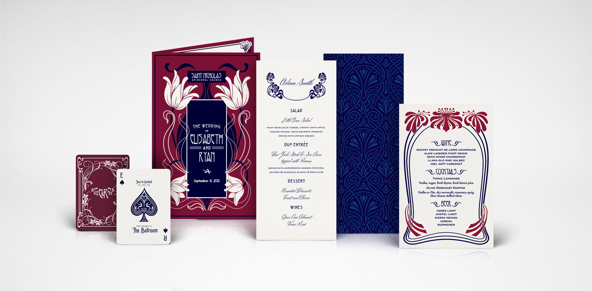 Lake Tahoe Art Nouveau menu, program and wedding day stationery