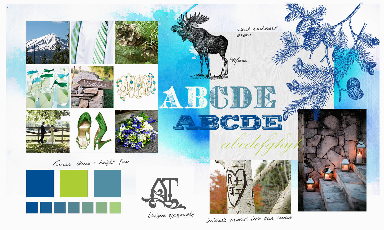 Vintage typography, pinecones and moose inspiration