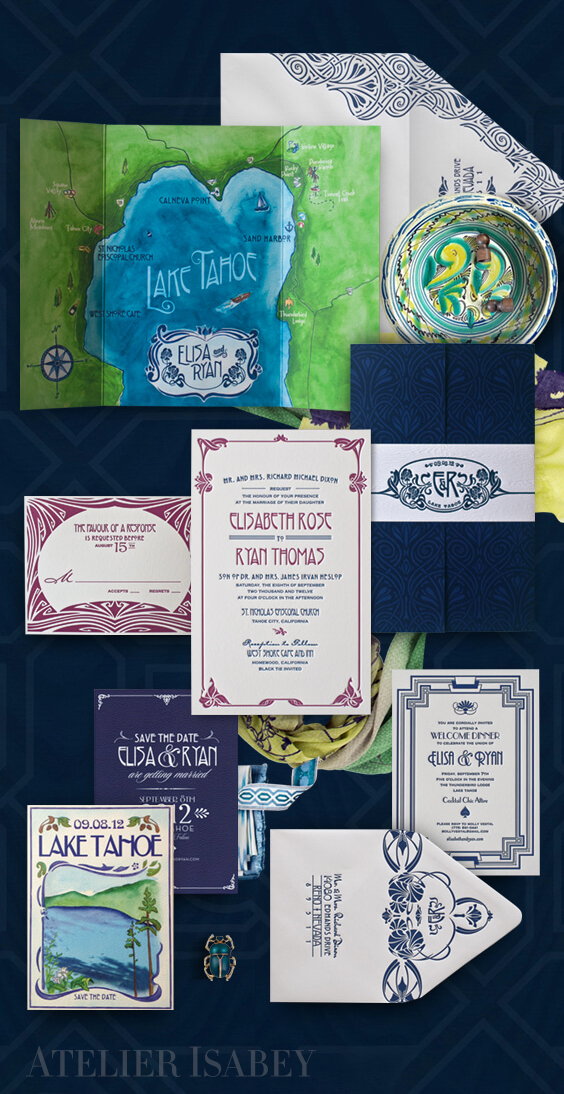 Lake Tahoe watercolor destination wedding invitation