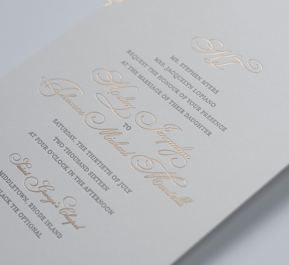 Letterpress and gold foil lettering detail