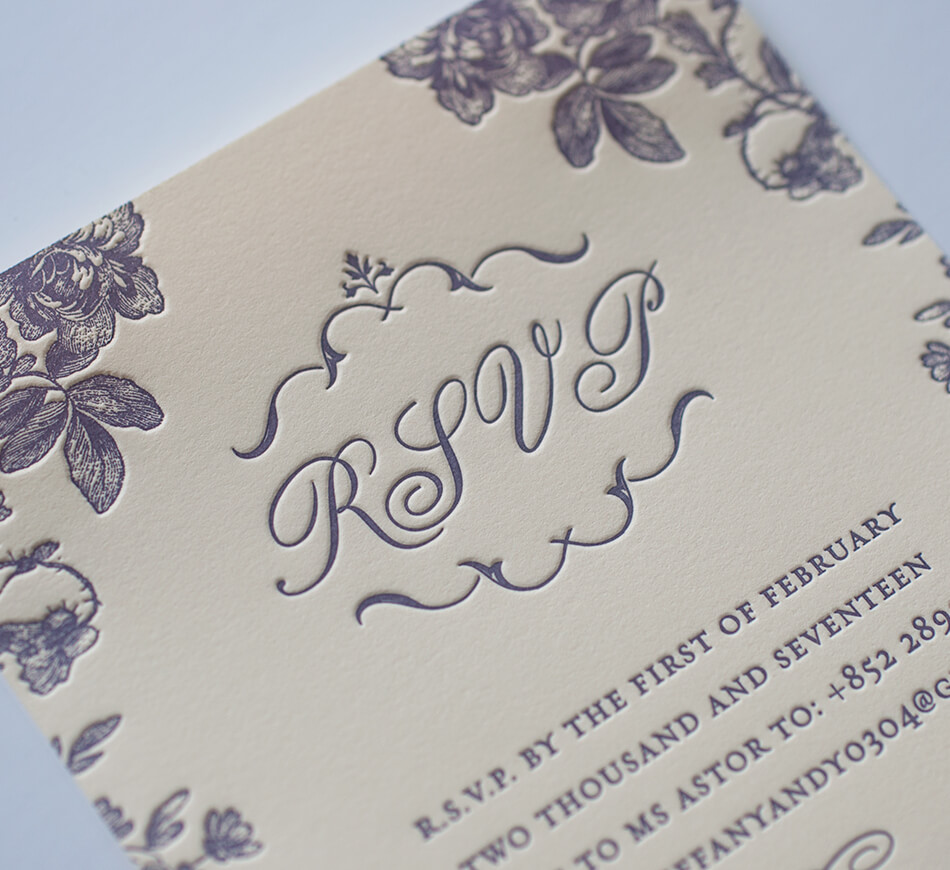 Letterpress reply card detail
