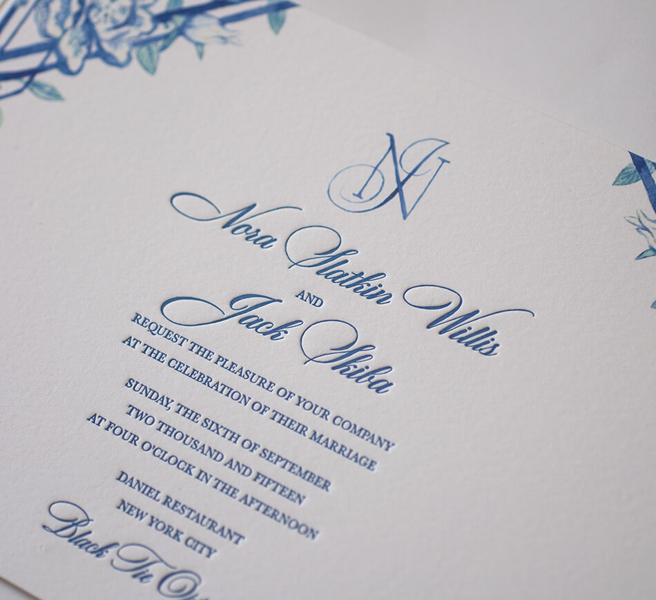 Letterpress typography on invitation