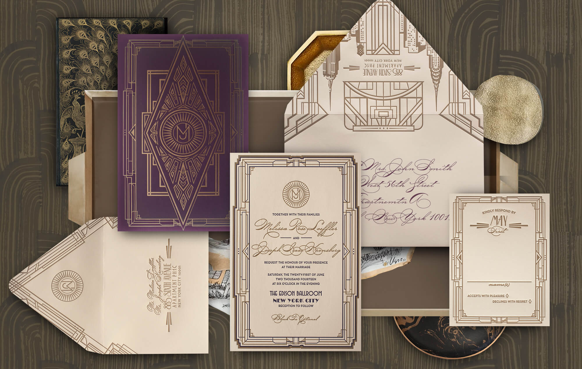 New York Art Deco wedding invitation