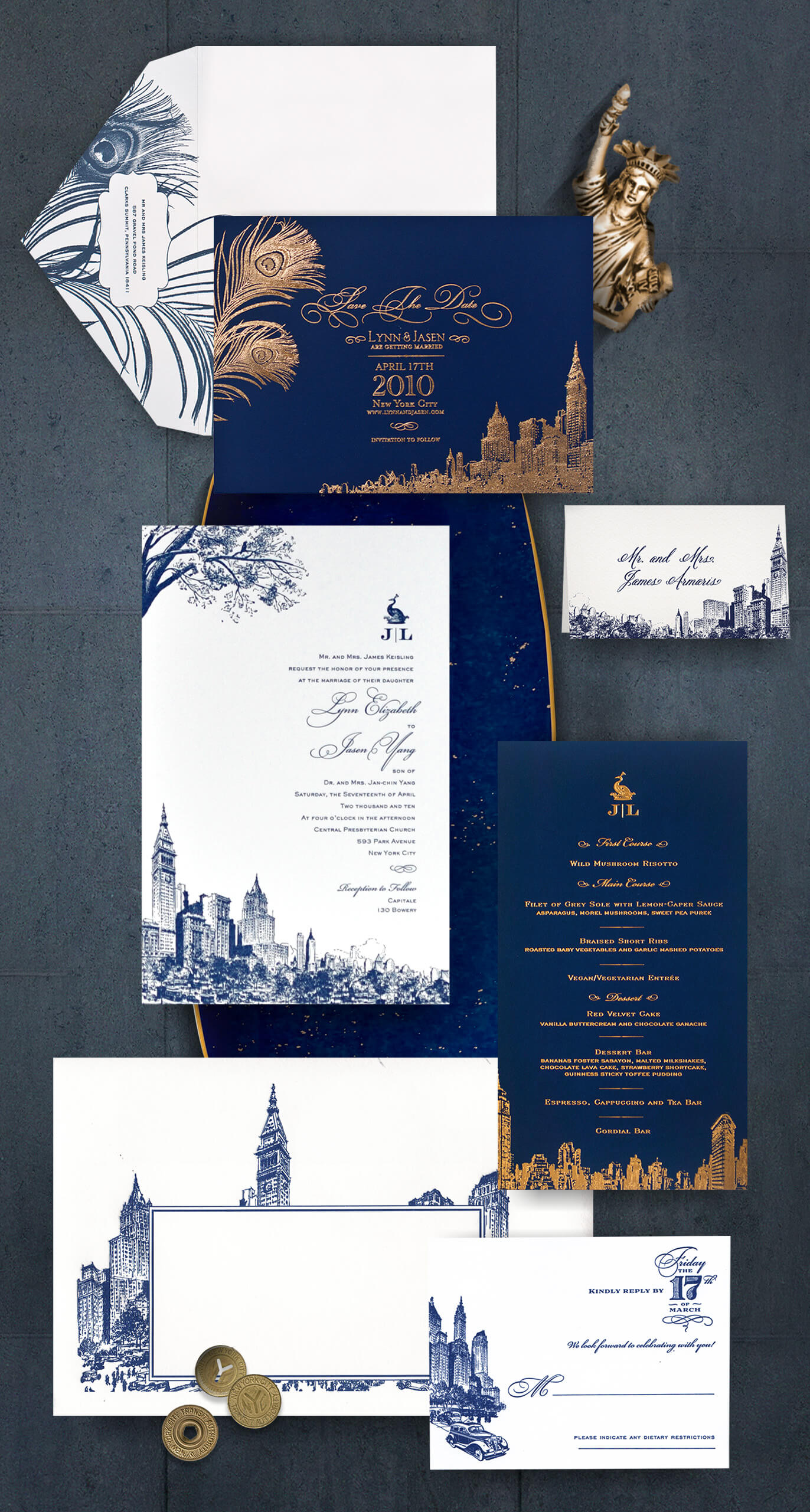 New York skyline wedding invitation suite