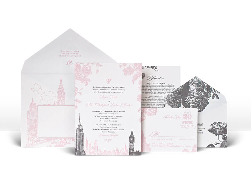New York and London floral wedding invitation