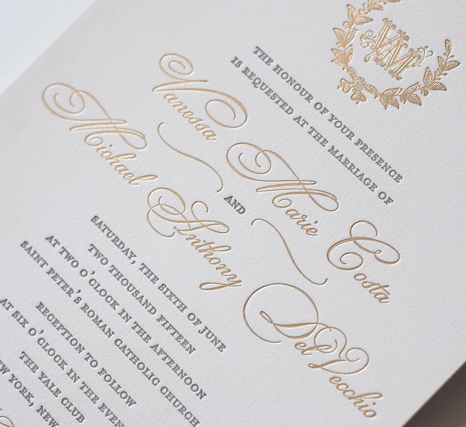 Ornate gold lace wedding invite